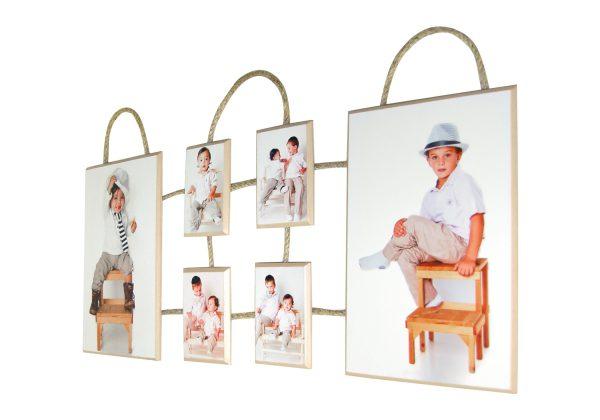 הדפסה על עץ בשילוב חבלים קולאז תמונות