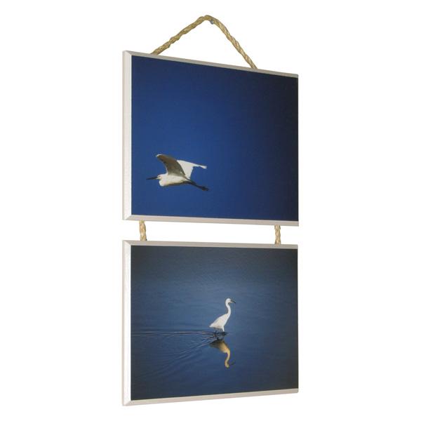 הדפסה על עץ בשילוב חבלים 2 תמונות