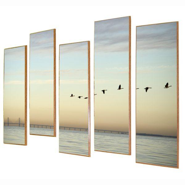 תמונת ים וציפורים מחולק אמנותית בגבהים שונים לעיצוב הבית או המשרד